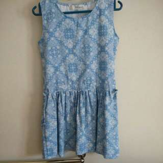 Blue with White Pattern Dress #SWAP