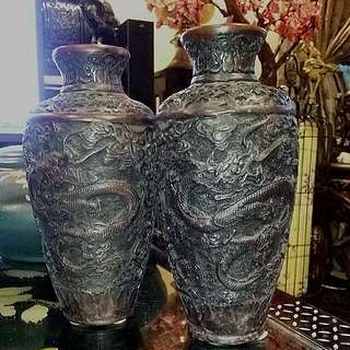 "2 Pieces Chinese Vintage Dragon Vases Carved 9"" Tall"