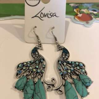 Peacock earrings with semi precious stones