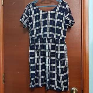 Motel Checkered Babydoll Dress (Size S/UK10)
