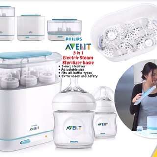 Avent 3 in 1 Sterilizer plus 125ml natural bottle x2