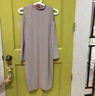 long sleeve dress nude color