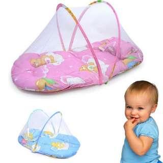 tilam kelambu bayi travel dengan muzik / Foldable Baby Cotton Padded Mattress Bed Mosquito Net Crib Tent #midjan55