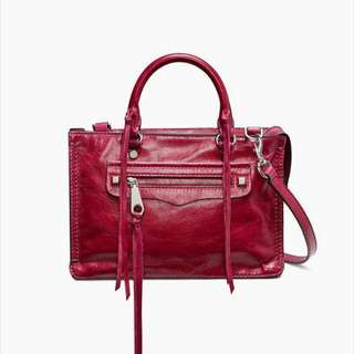 Rebecca Minkoff Micro Regan Satchel Beet distressed leather