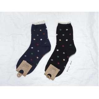 。error dot。韓國製彩色珠珠糖圓點小花邊襪子