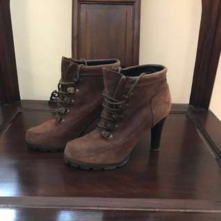 -now discounted-Ralph Lauren brown military high heel ankle boots