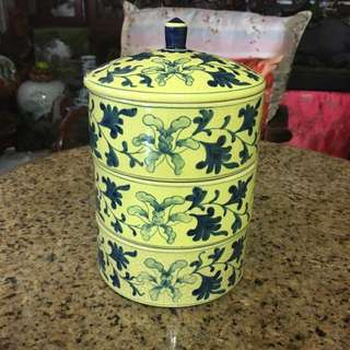 Hand Painted China Blue And White And Green Flowers Canister. Buy 1 Get 1 Free Deal
