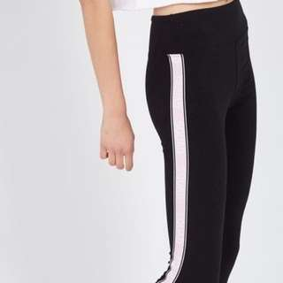 New With Tags Supre Sporte Black Leggings With White Stripe Side Size XL