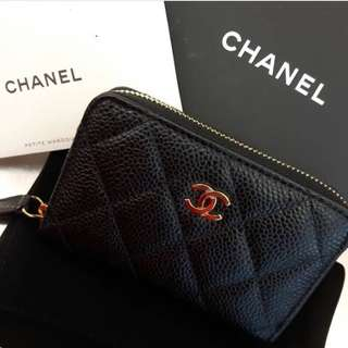 Chanel Zippy Cardholder/Coin Purse Black Caviar with GHW