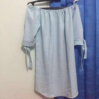 Blue Dress Sabrina off shoulder