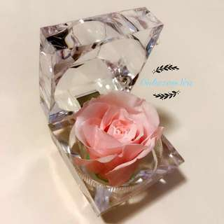 Real Preserved Flower in Crystal Ring Box - Pink Rose