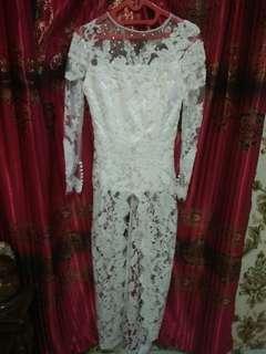 Kebaya putih dan rok batik lengkap full payet baru sekali pakai hanya untuk nikah tgl 25 nov 17