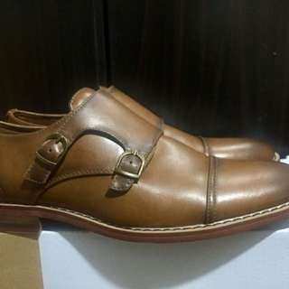 Mens Brown Leather Shoes (Double Monk Strap) Mens size 7 8 8.5 Formal Office Casual