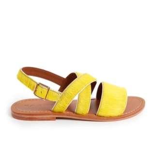 MARNI Yellow Calf Hair Summer Sandals