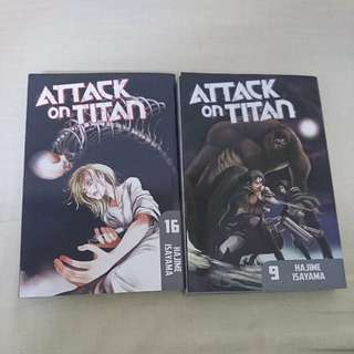 Manga Attack On Titan Volume 9 and 16