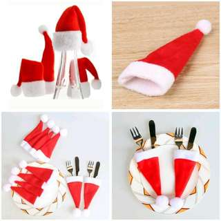 Christmas Santa Hat Cutlery Holder Set