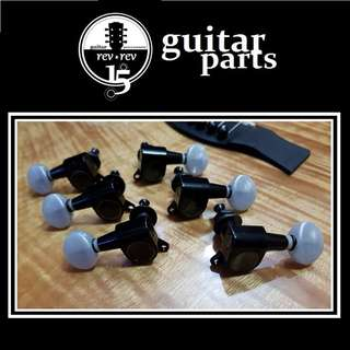 Black Guitar Tuners / Machine Heads with Pearloid Pegs * 3R + 3L Configuration *