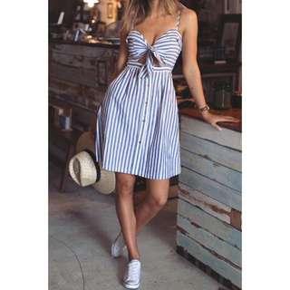 Stripes front tie Dress