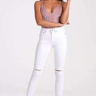 Black Swallow Boutique White Skinny Jeans