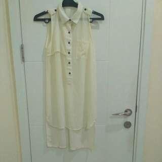 white dress,  white blouse