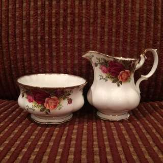 Vintage Royal Albert OCR creamer jug & sugar bowl