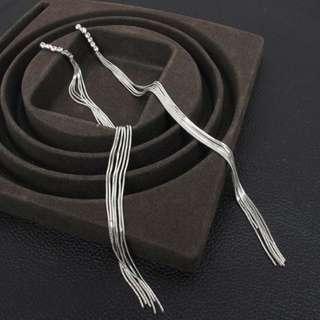 Long Tassle Silver Earrings