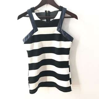 Stripes Racer Top mix Leather