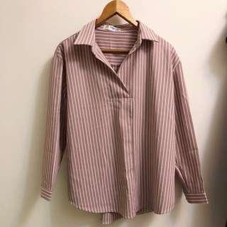 正韓粉紅條紋開襟雪紡長袖襯衫