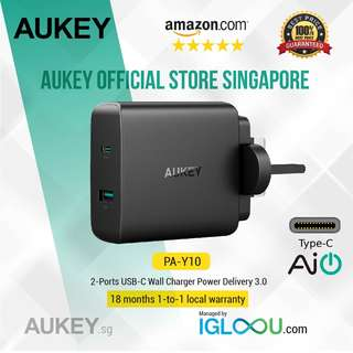 [PA-Y10] AUKEY USB C Charger with 46W USB-C Power Delivery 3.0 & 5V/2.1A Ports USB Wall Charger for MacBook / Pro, iPhone X / 8 / Plus, Samsung Note8 and More