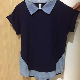Blue shirt collar Korean style