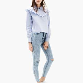 Bershka striped blouse with frills