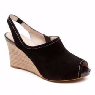 AUTHENTIC Rockport shoes women shoes seven to 7 sling wedge pump Black