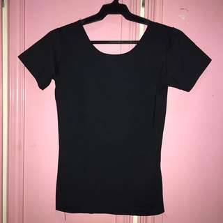 Black Fitted Low Back Top