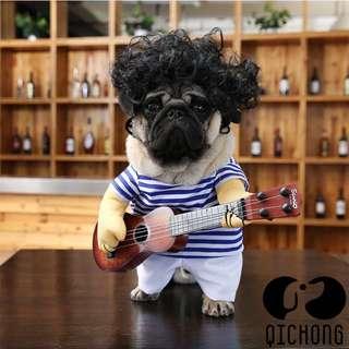 🚚 狗狗搞笑抱吉他造型衣服 XL號