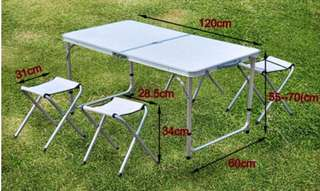 Foldable table with 4 chairs (white)