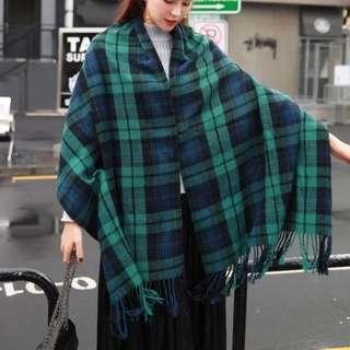 🚚 藍綠格紋 圍巾 女 秋冬季 韓版 加厚 長款 針織披肩兩用 圍脖 棉麻 #運費我來出 #含運最划算