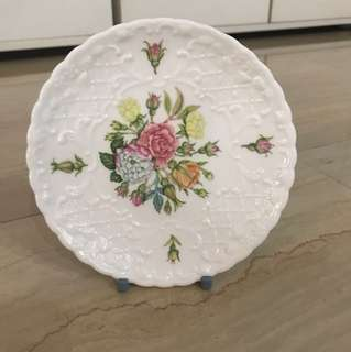 Coalport white floral ceramic plate rose garden collectible