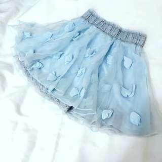 歐根紗蕾絲拼接鬆緊迷你裙 短裙 蓬蓬裙