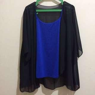 Black Kimono x Blue sando