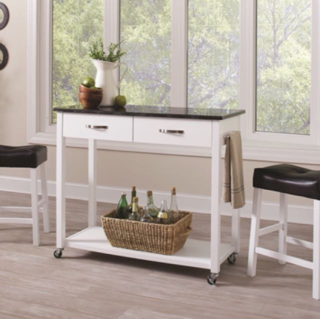 3pcs White/Black Kitchen Cart