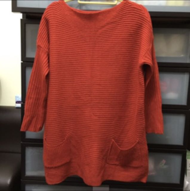 免運🌿橘紅色針織洋裝