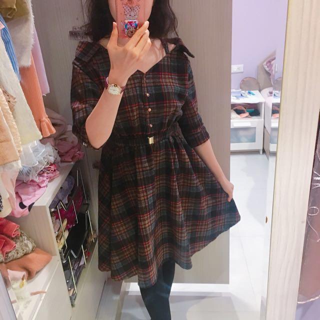 秋冬日系格子洋裝