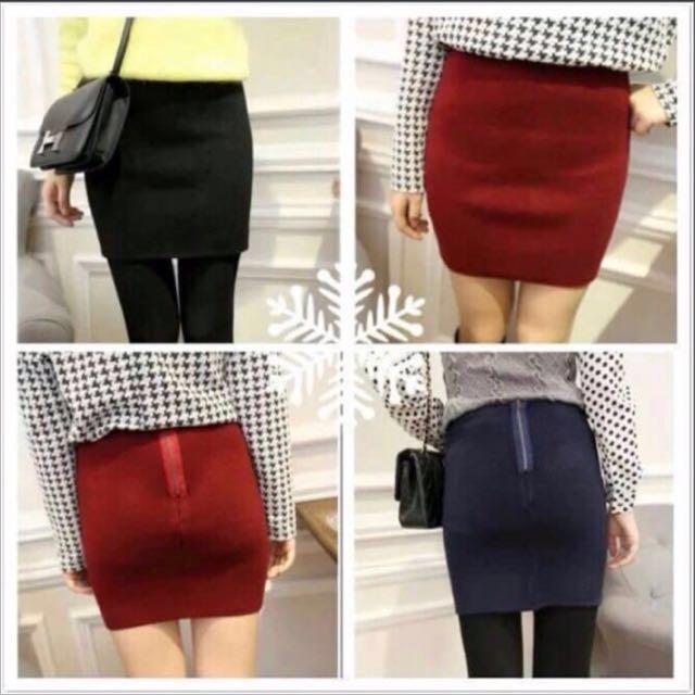 拉鍊毛料包臀 大紅短裙