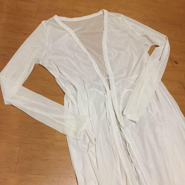 白色仙女網紗七分袖長罩衫 #舊愛換新歡