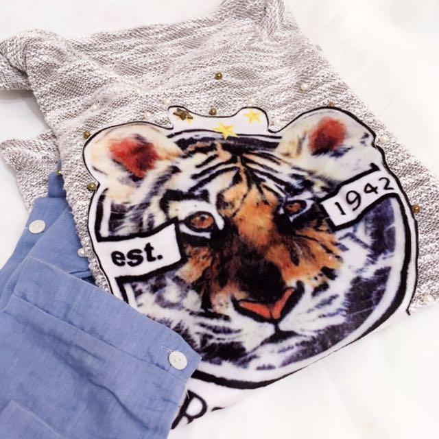 超寬鬆 老虎頭花灰針織拼接仿單寧襯衫袖休閑針織衫