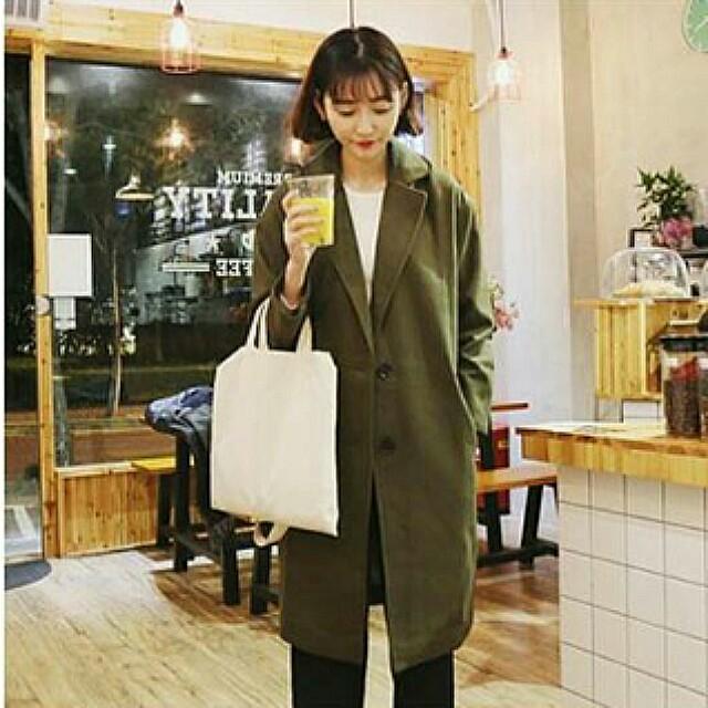 可議 韓版寬鬆雙口袋中長款大衣 軍綠