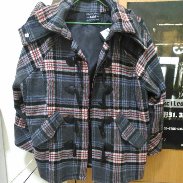 灰紅格子牛角釦 帽子 外套