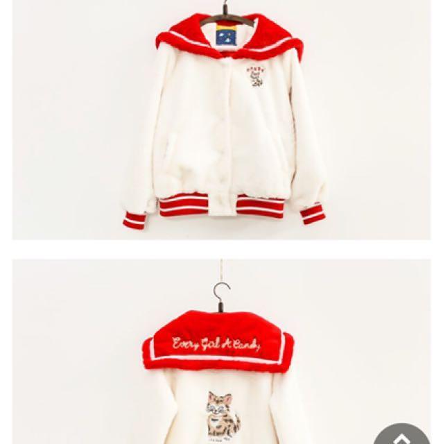 日系 可愛 貓咪 海軍領 毛絨 外套 可參考夢展望