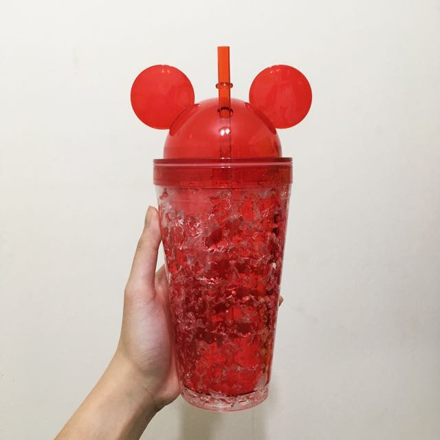 🆕 Red Mickey Mouse Tall Plastic Sippy Cup Mug