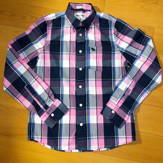 Abercrombie kids a&f 基本款百搭 格子格紋 粉紅長袖襯衫